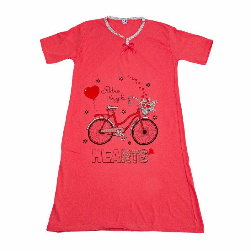 czerwona koszula nocna rower